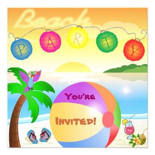 beach party invitation template 161658549114934943