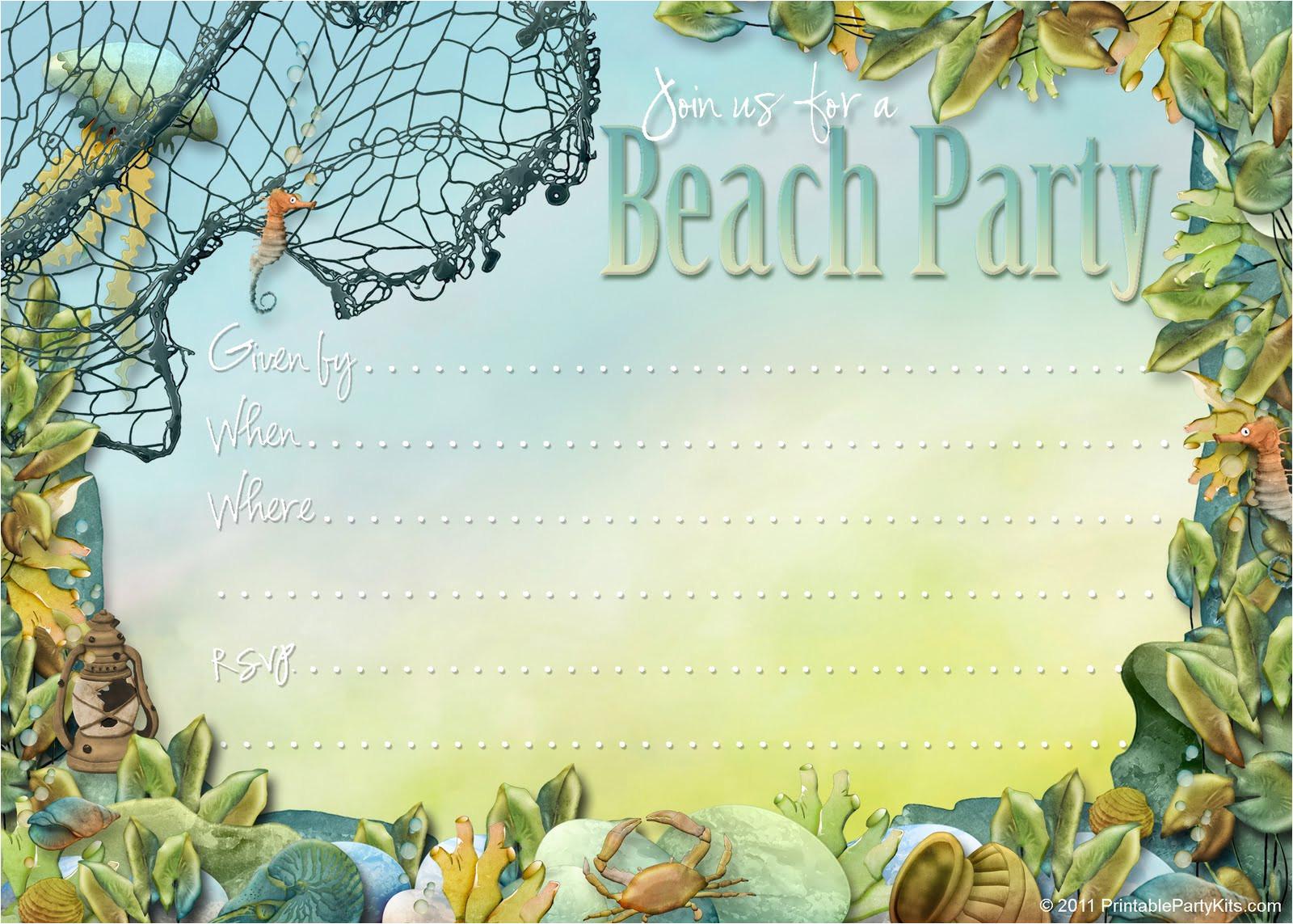beach themed party invites