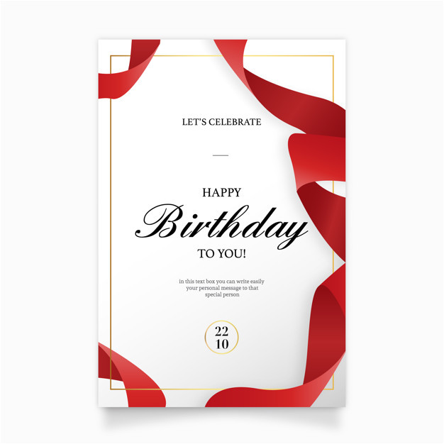 birthday invitation card with red ribbon 3007009