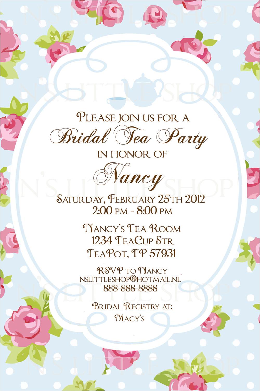 english rose tea party invitation card
