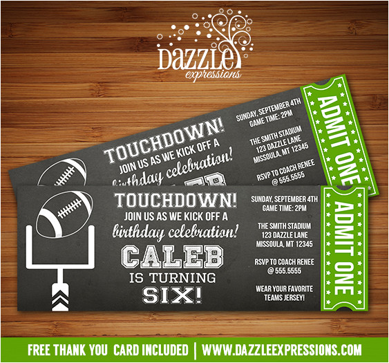 football chalkboard ticket invitation free thank you card included