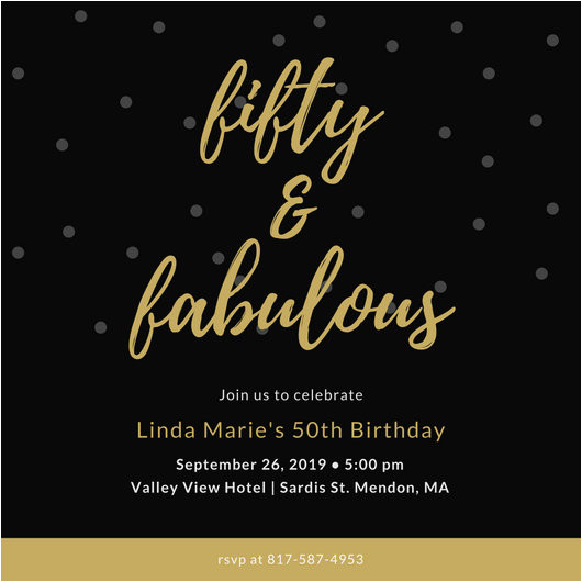 macbue8dogg black and gold dotted background 50th birthday invitation