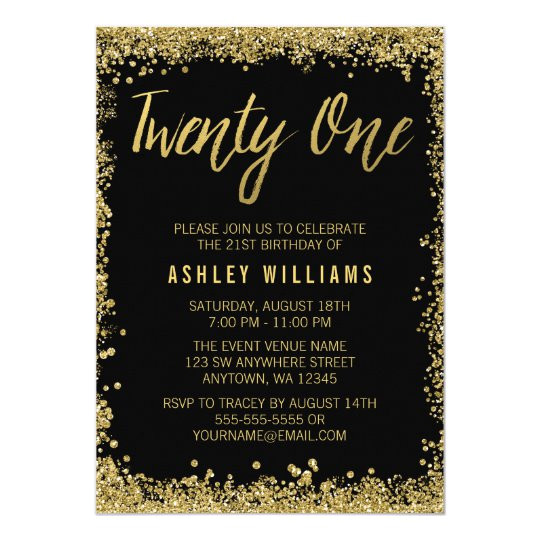 black gold faux glitter 21st birthday invitations 256053218415162298