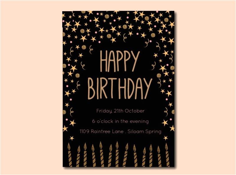 black and gold birthday invitation