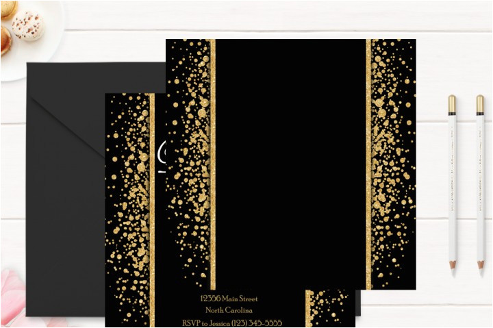 67513 gold and black 50th birthday invitation template