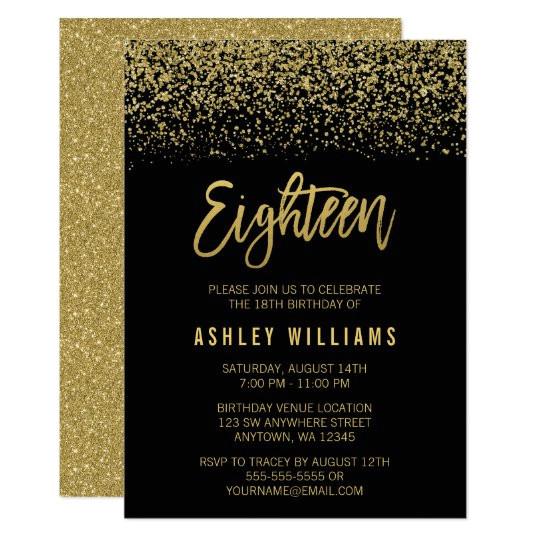 modern black gold faux glitter 18th birthday invitation 256674438628307899