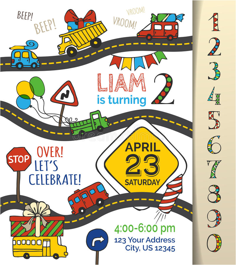 stock illustration vector birthday invitation template boy hand drawn doodles cars traffic signs balloons blowouts garland sweets image67110528