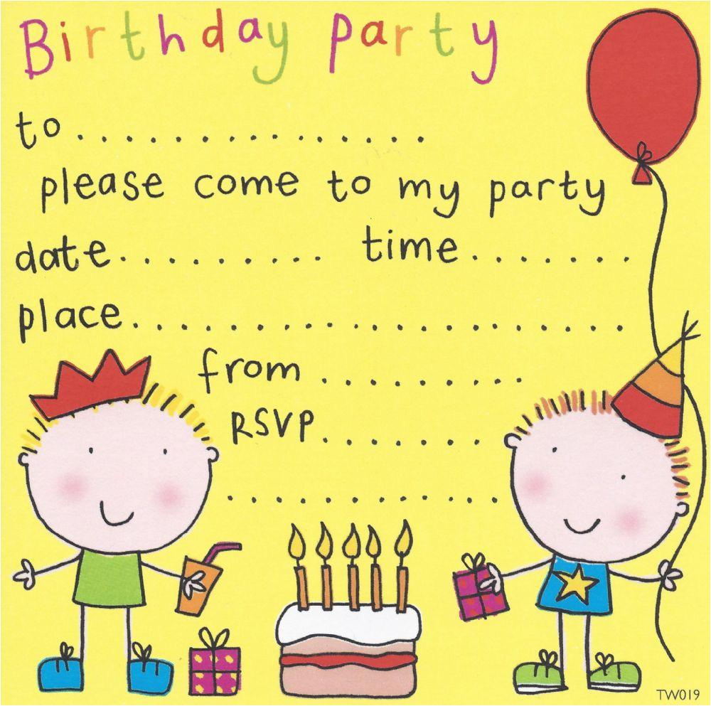 twin boys childrens party invitation 6 p