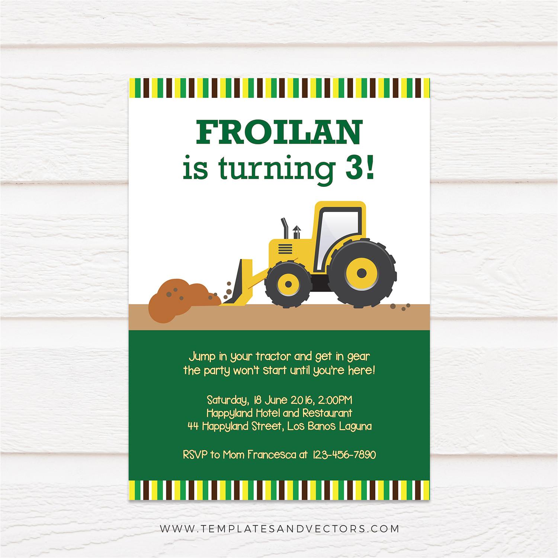 tractor truck birthday invitation tvb173 yellow and green