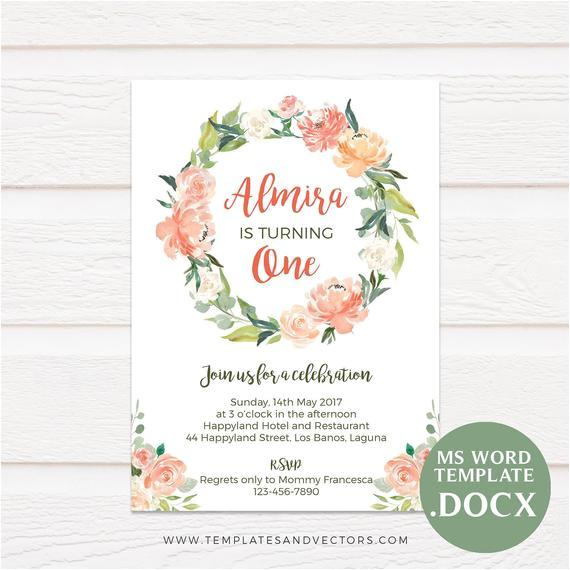 watercolor flowers birthday invitation