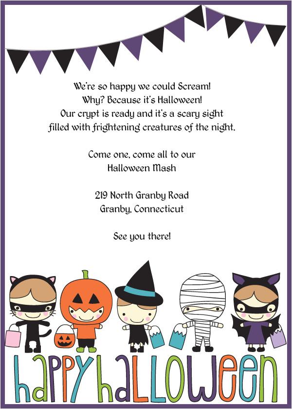 cute trick or treatsters halloween invitation