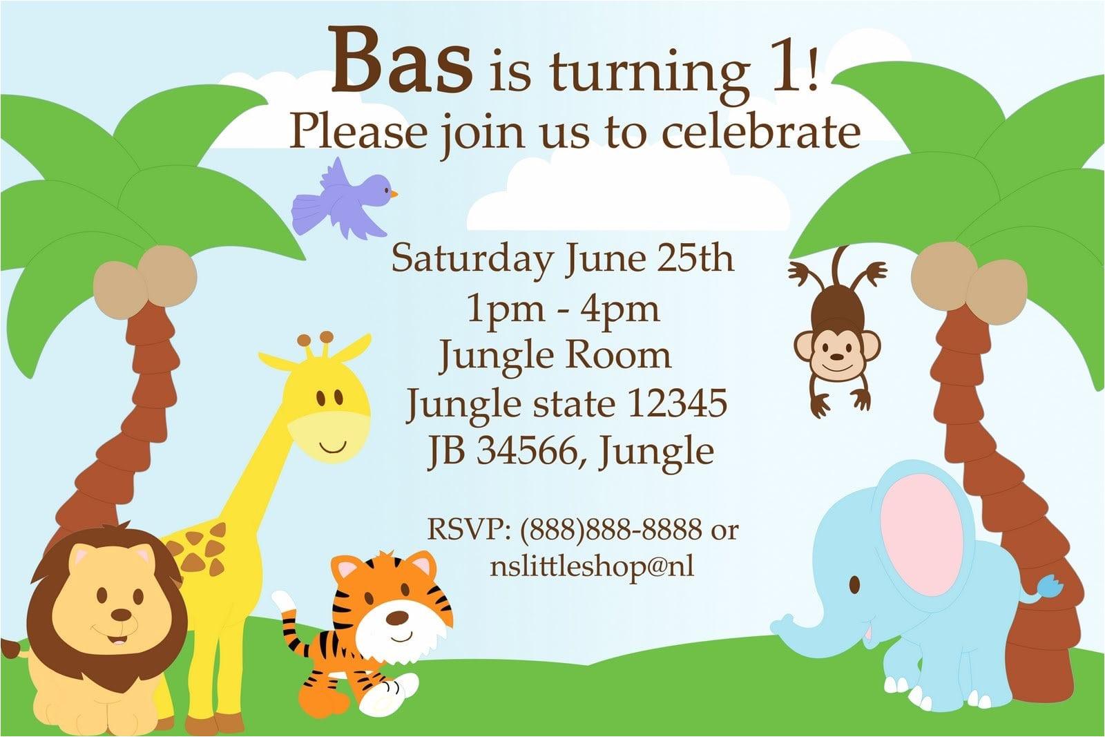 jungle birthday invitation template free