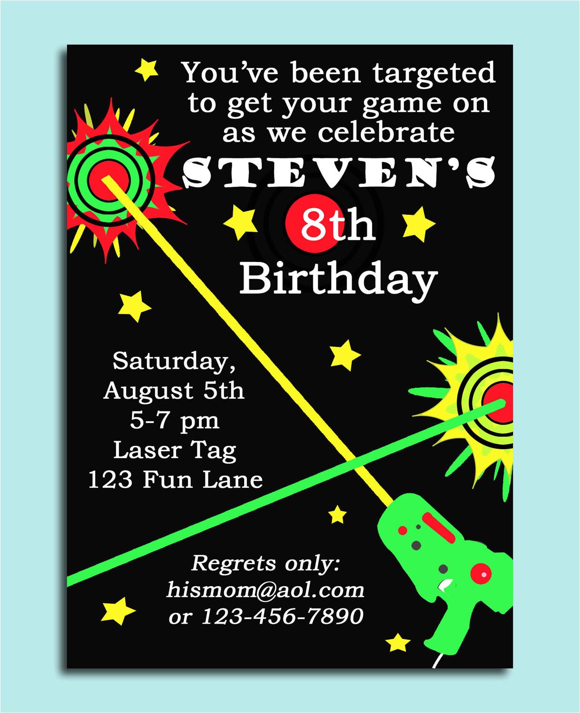 free laser tag birthday invitation