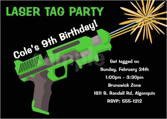 laser tag birthday invitation laser tag