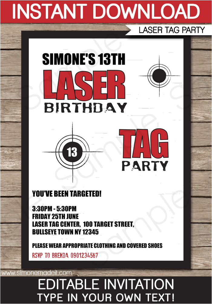 laser tag party invitations template