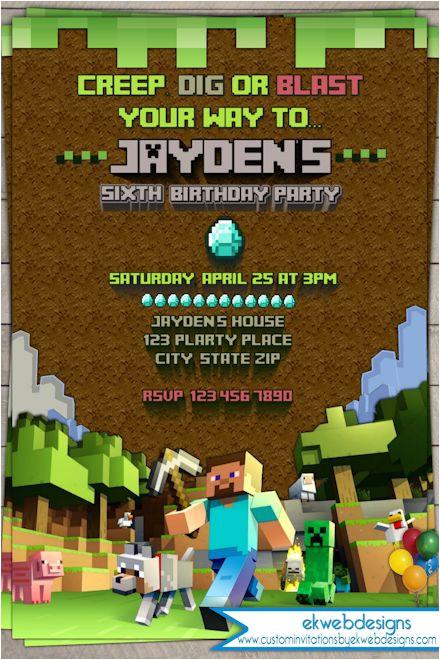 minecraft birthday invitation digital printable file