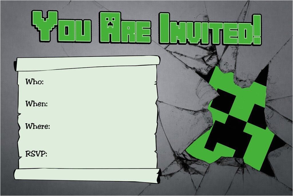 free minecraft creeper inspired birthday invitation printable