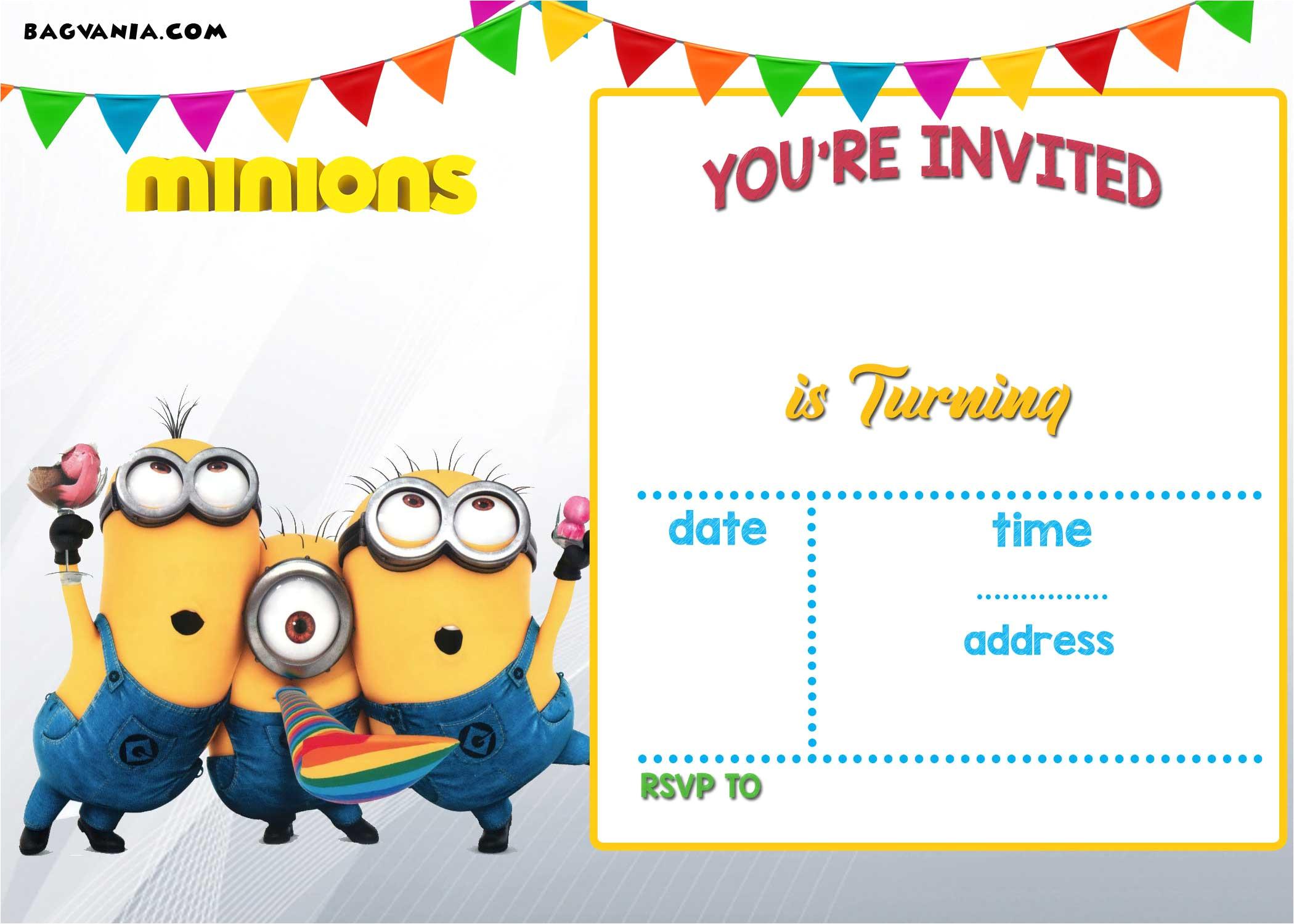 free printable minion birthday invitation templates