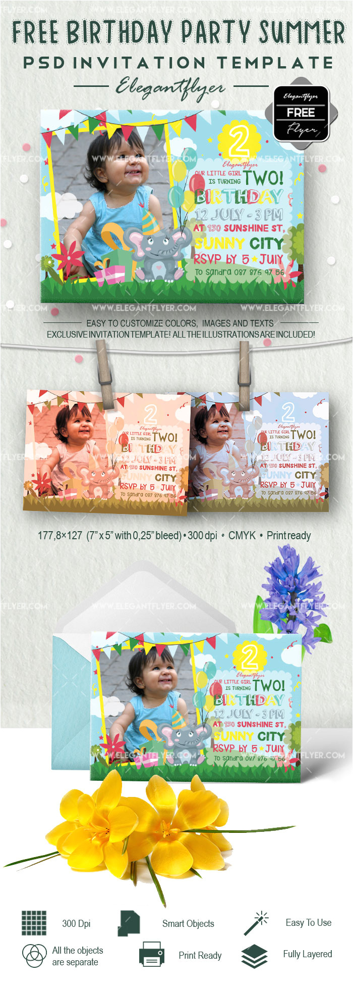 free birthday party summer invitation psd template