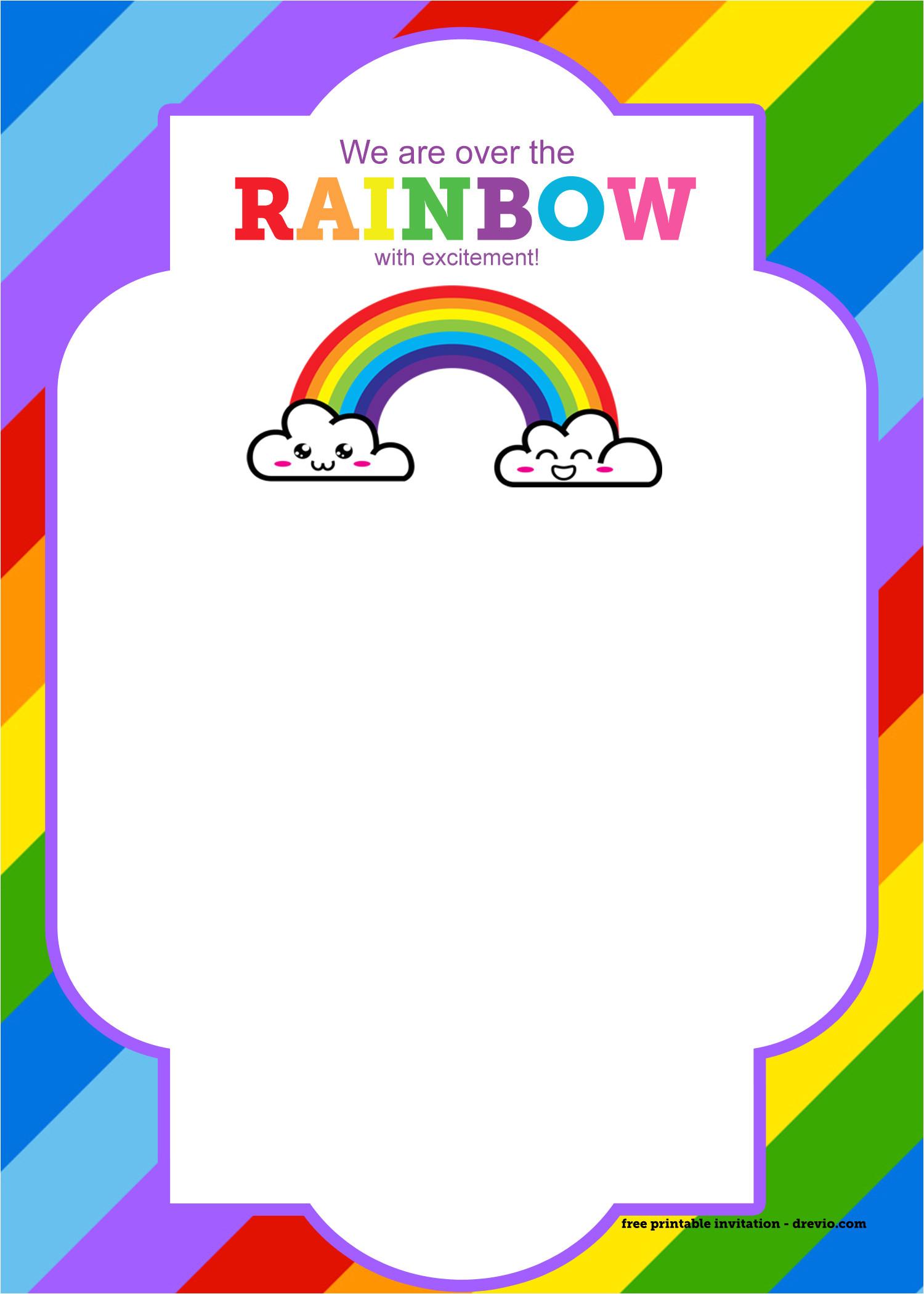 free printable rainbow invitation template thank you card