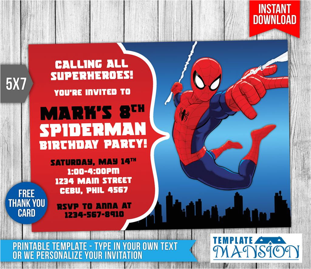 spiderman invitation birthday invitation psd 607973635