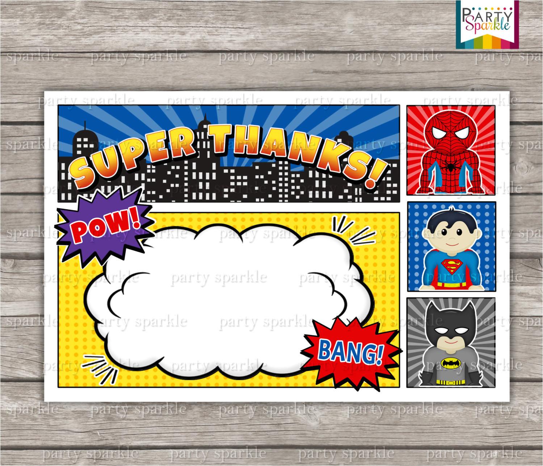12 blank superhero birthday invitations