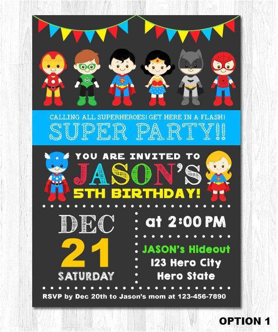 superhero birthday invitation superhero
