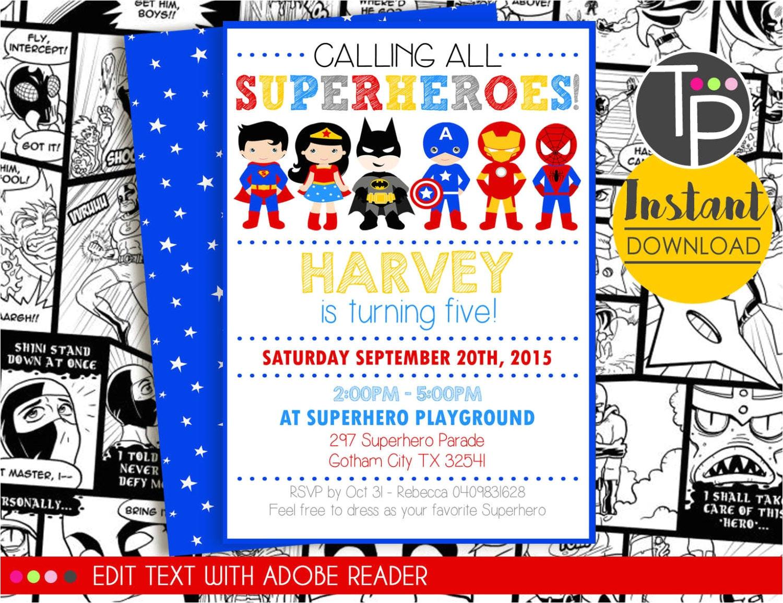 superhero party invitation instant
