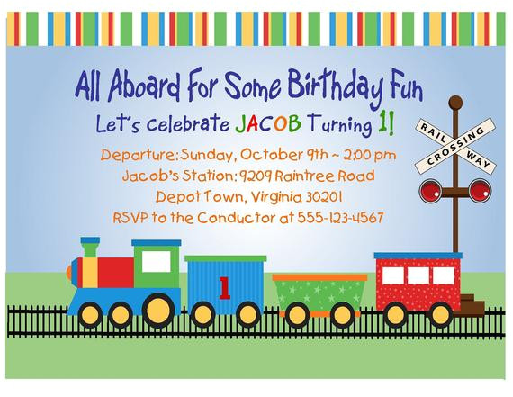 train invitation 1st birthday printable