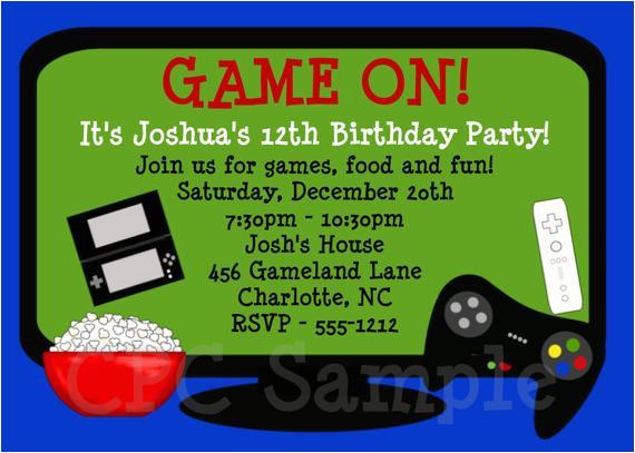 video game birthday invitation printable