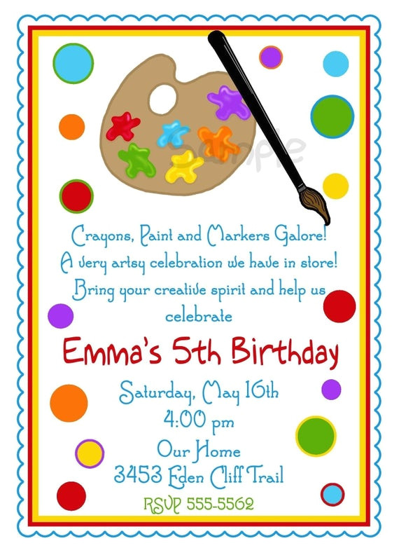 art invitations art party painting