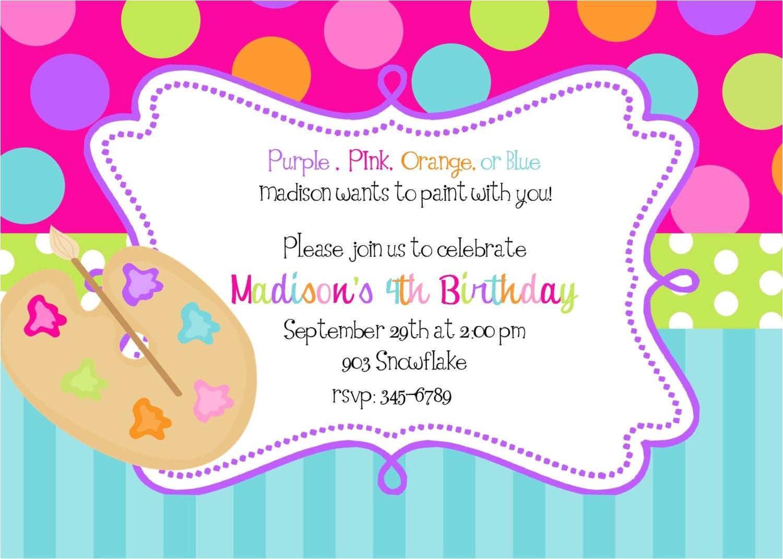 art painting birthday party invitations