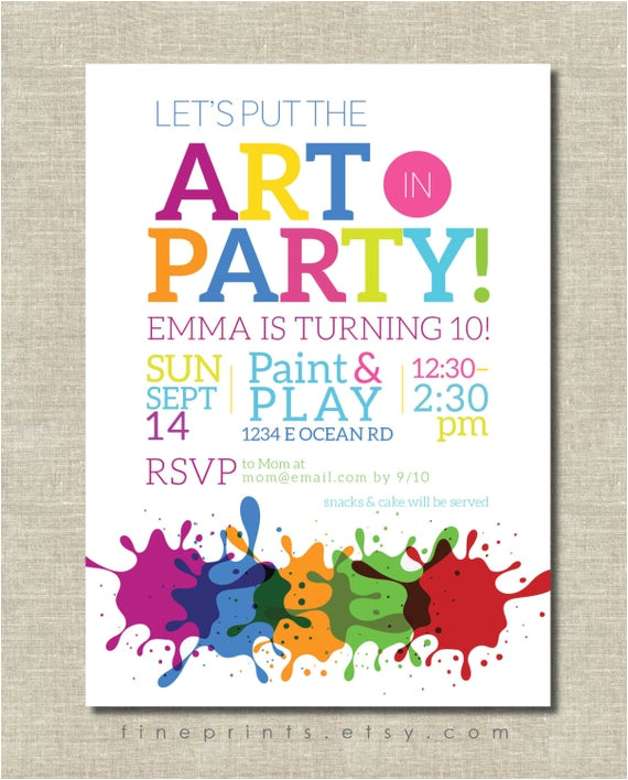 art party invitation painting party art