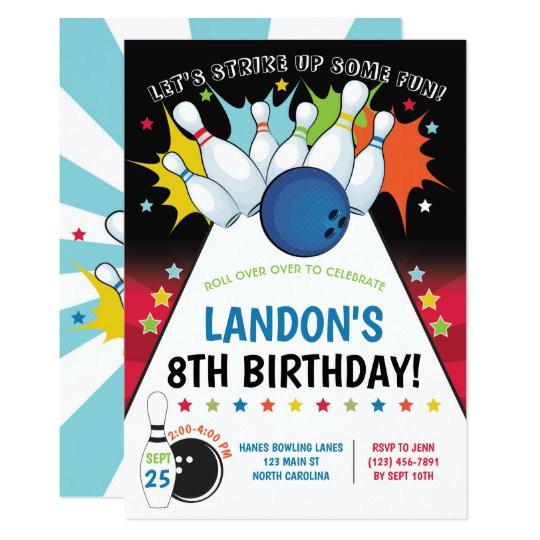 bowling birthday party invitation boy invitation 256192707199915454