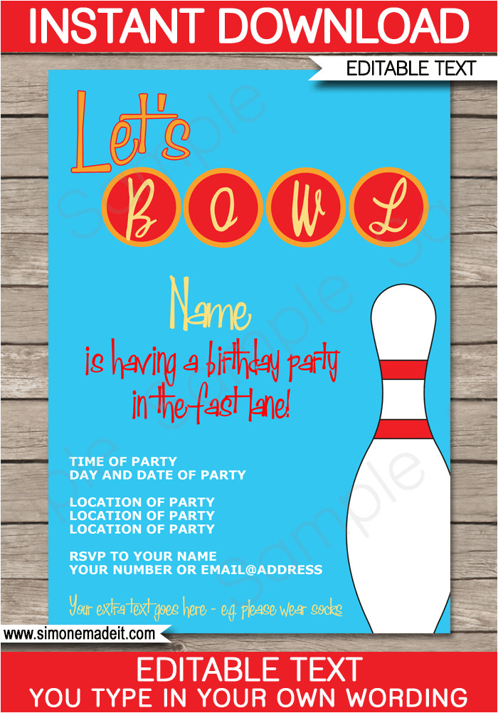 bowling party invitations template birthday