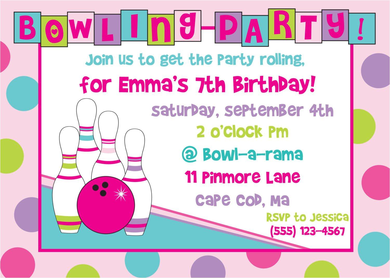 printable bowling birthday party invitations