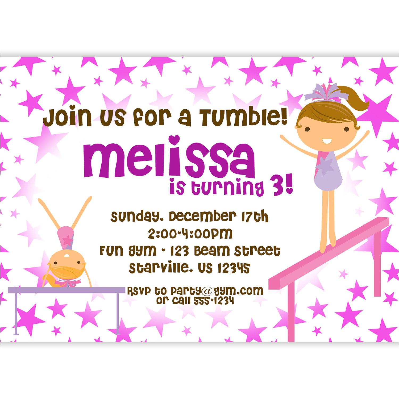 gymnastic birthday invitations