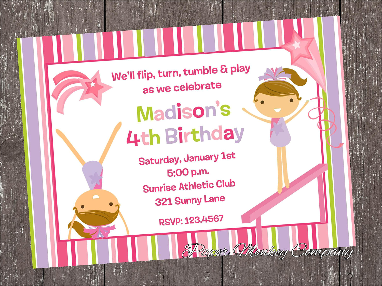 gymnastics birthday invitations