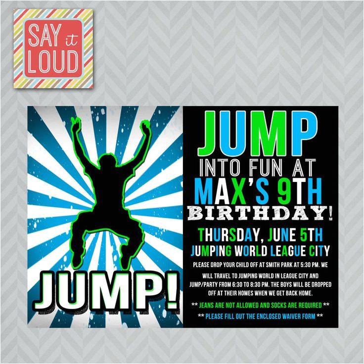 trampoline birthday party invites nk99 hta