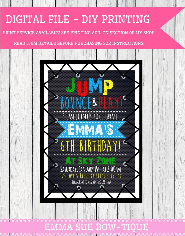 trampoline party personalized birthday