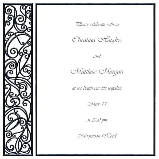 blank black and white wedding invitation templates