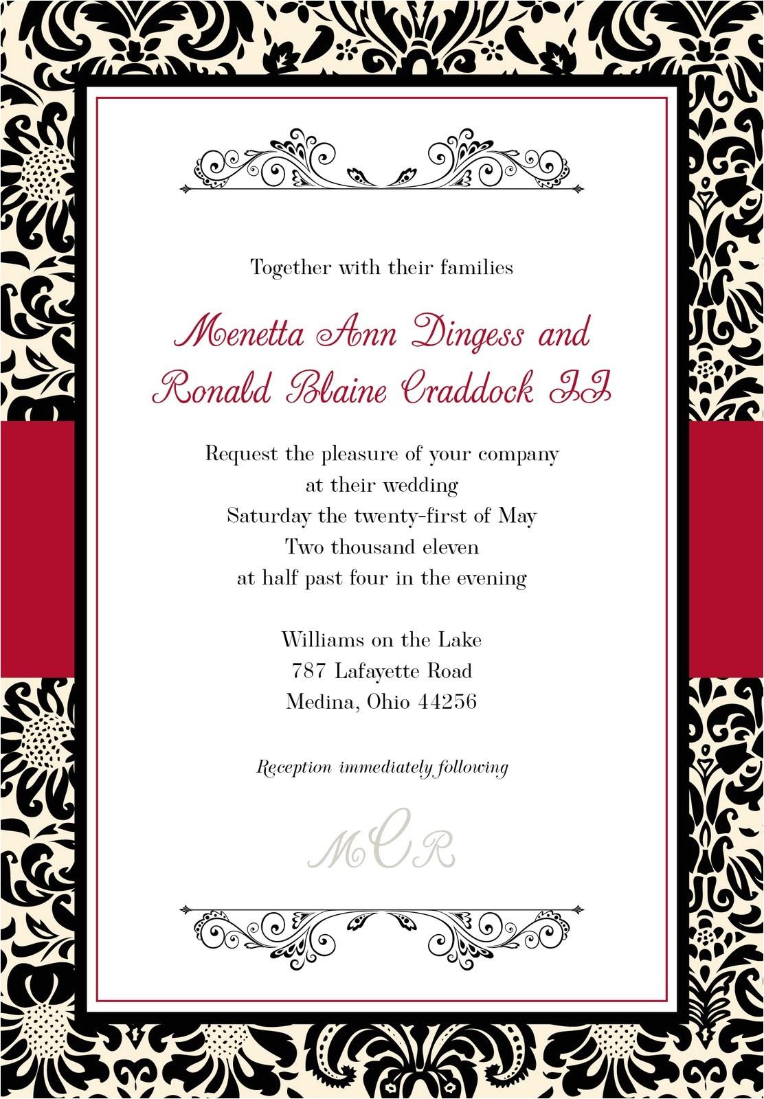blank wedding invitation templates black and white