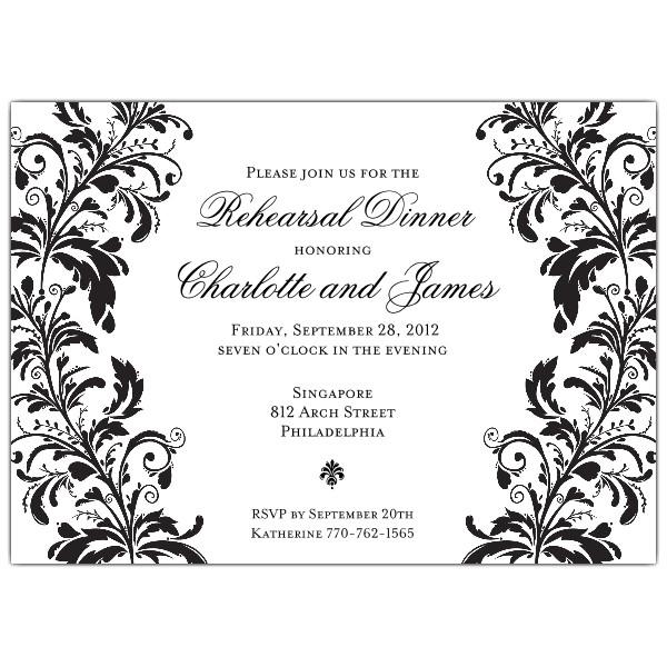 branches black on white rehearsal dinner invitations p 610 75 024k