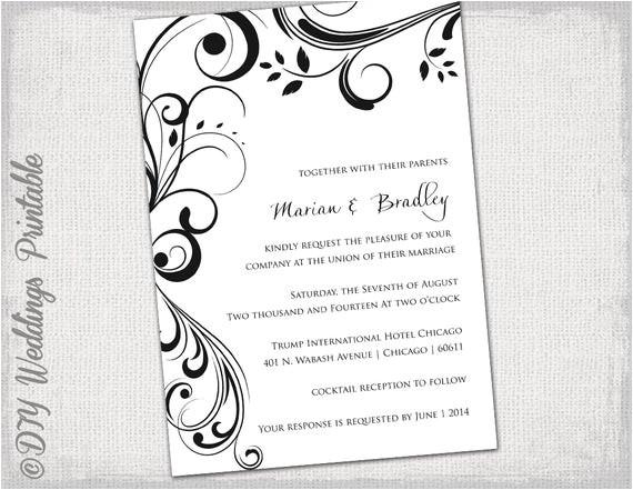 wedding invitation templates black and