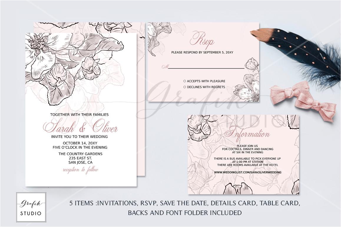 66018 blush pink floral wedding invitation template