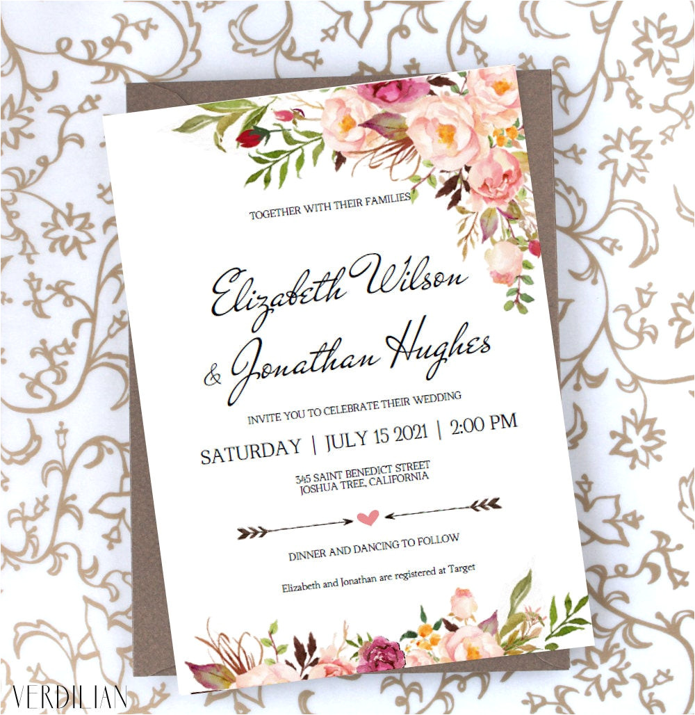 floral wedding invitation template blush