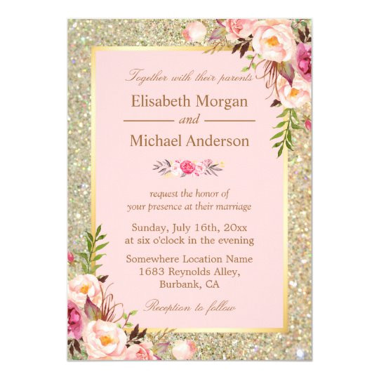 gold glitters blush pink floral wedding invitation 256305914520598066