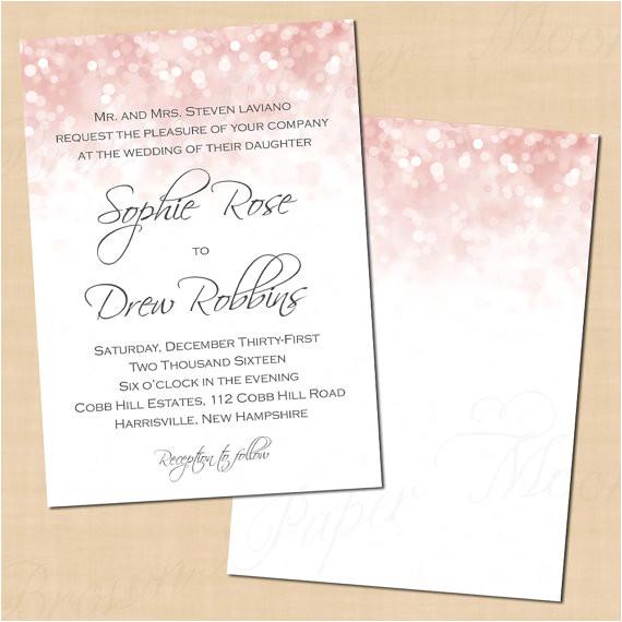 pink blush glitter wedding invitation