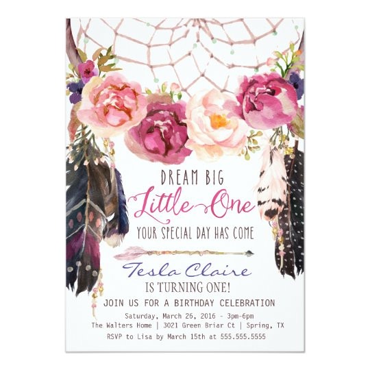 boho floral dreamcatcher watercolor first birthday invitation 256013063755676629