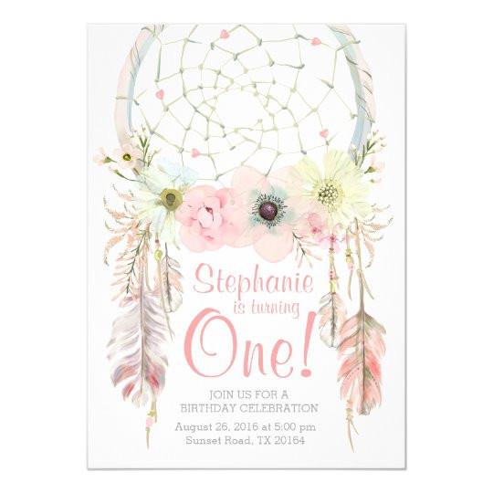dreamcatcher boho pink pastel birthday invitation 256868017448325598